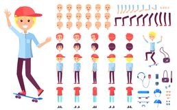 Cheerful Teenage Skater Boy in Cap Constructor. Spare body parts, messy hairstyles, modern clothes and special equipment vector illustrations Royalty Free Stock Image