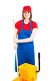 Cheerful Teenage Worker with Mop Stock Images