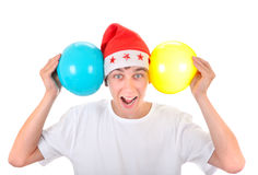 Cheerful Teenager with Balloons Royalty Free Stock Photos
