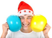 Cheerful Teenager with Balloons Royalty Free Stock Images