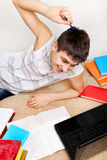 Cheerful Teenager doing Homework Stock Photos