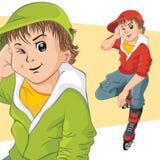 Cheerful teenager on roller skates. Vector illustration Stock Photo