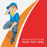 Cheerful teenager on roller skates. Vector illustration Royalty Free Stock Photography