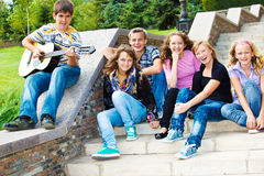 Cheerful teenagers Stock Photo