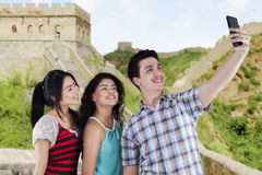 Cheerful teenagers in the Great Wall Royalty Free Stock Photography