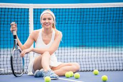 Cheerful Tennis Player in Court royalty free stock photography
