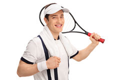 Cheerful tennis player holding a racket. Cheerful tennis player in a white shirt holding a racket and looking at the camera isolated on white background Stock Photo