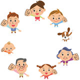 Cheerful three-generation family. Who unites Stock Illustration