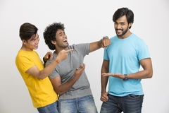 Cheerful three young friends Stock Image