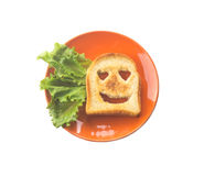 Cheerful toast with adoring eyes. I love you. toast to his belov Stock Images