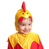 Cheerful toddler in a carnival suit of a chick Stock Image