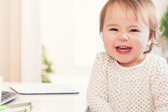 Cheerful toddler girl with a huge smile Stock Photos