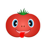 Cheerful tomato. Vector EPS10. Funny red tomato with a green tail. Vector EPS10 Stock Images