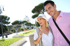 Cheerful tourists in Rome Stock Photos