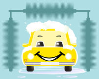 Cheerful toy car washing Royalty Free Stock Photography