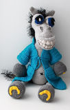 Cheerful Toy knitted Horse Demian Royalty Free Stock Photos