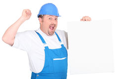 A cheerful tradesman Stock Images