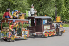 Cheerful train in the park of the Revolution Stock Photos
