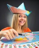 Cheerful traveler girl Royalty Free Stock Image