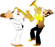 Cheerful trumpeter and saxophonist. Cheerful trumpeter in a hat and saxophonist in dress coat, vector Stock Image