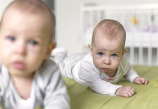Cheerful twins on the bed. 6 months old stock image