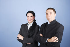 Cheerful two business people Royalty Free Stock Photos
