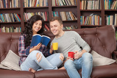 Cheerful two friends are spending time together Royalty Free Stock Photos