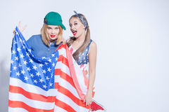 Cheerful two girls from Unites States of America Royalty Free Stock Images