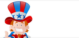 Cheerful Uncle Sam Banner. Vector Illustration of Happy Cartoon Patriotic Uncle Sam 4th of July Banner Royalty Free Stock Photo