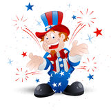Cheerful Uncle Sam Illustration. Beautiful Art of Cartoon Cheerful Patriotic Uncle Sam Character Expression stock illustration