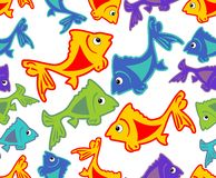 Cheerful vector background with vivid colored fish cartoons. On white area Stock Photos