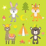 Cheerful vector set of drawings of animals bears, fox, hare, llama. With decorative elements and nature vector illustration