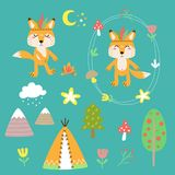 Cheerful vector set of drawings of fox animals. Cheerful vectorial set of drawings of fox animals with decorative elements and nature vector illustration