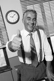 Cheerful vintage businessman thumbs up Stock Photography