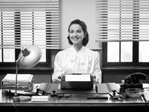 Cheerful vintage secretary Royalty Free Stock Photography