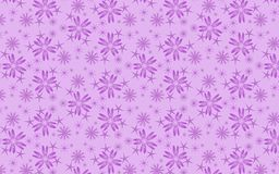 Cheerful violet snow flakes pattern over lilac background. Snowflakes pattern. Geometric abstract seamless pattern of snowflakes and floral structures in mauve vector illustration