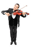 Cheerful violinist playing a violin Royalty Free Stock Photos