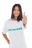 Cheerful volunteer woman with thumb up Royalty Free Stock Photos