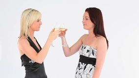 Cheerful welldressed women with champaign Stock Photo