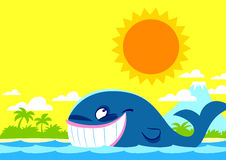 Cheerful whale. The illustration shows a cheerful cartoon whale. He swims in the sea on the background of the island Royalty Free Stock Photos
