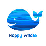 Cheerful whale. Silhouette of an whale with a abstract wave ornament. Place for your text. It can be used for decorating of invitations, greeting cards vector illustration