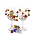 Cheerful Wine Glasses Royalty Free Stock Photography