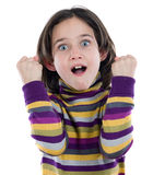 Cheerful winner girl. On a white background Royalty Free Stock Photo