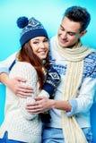 Cheerful winter couple Stock Image
