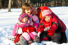 Cheerful winter family Royalty Free Stock Photo