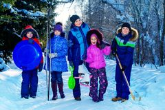 Cheerful winter family royalty free stock image