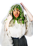 Cheerful witch. On a white background Royalty Free Stock Photos