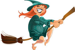 Cheerful witch on the broom Royalty Free Stock Photography