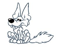 Cheerful wolf animal character sitting cartoon coloring page. Cheerful wolf animal character sitting cartoon illustration isolated image coloring page royalty free illustration