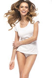 Cheerful woman with amazing hair. Cheerful lady with amazing hair Stock Photo